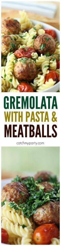 Easy gremolata recipe, perfect to serve with pasta and meatballs! | CatchMyParty.com