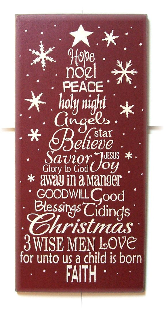 Christmas words tree typography wood sign. $34.00, via Etsy.