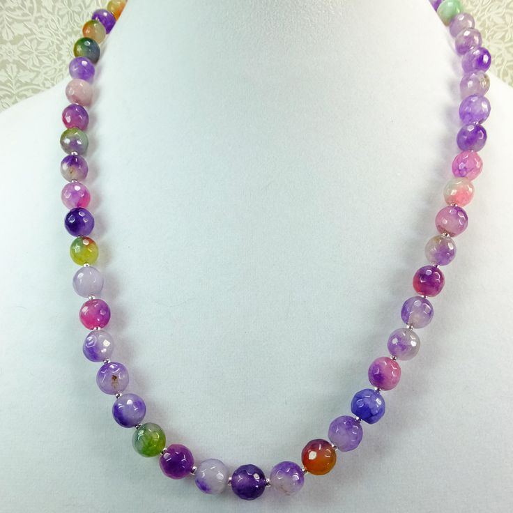 You can find this in my #etsy shop: SET Rainbow Multi-colored Pink, Purple, Blue, and Green Heat Treated Snow Quartz Beaded Necklace and Dangle Earrings http://etsy.me/2C0QHqD #jewelry #necklace #rainbow #FantasyCreations1 #quartz #multicolored #purple #stonebeads