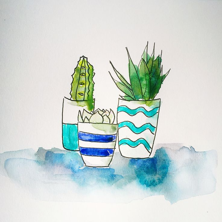Plant doodle. Watercolor and ink