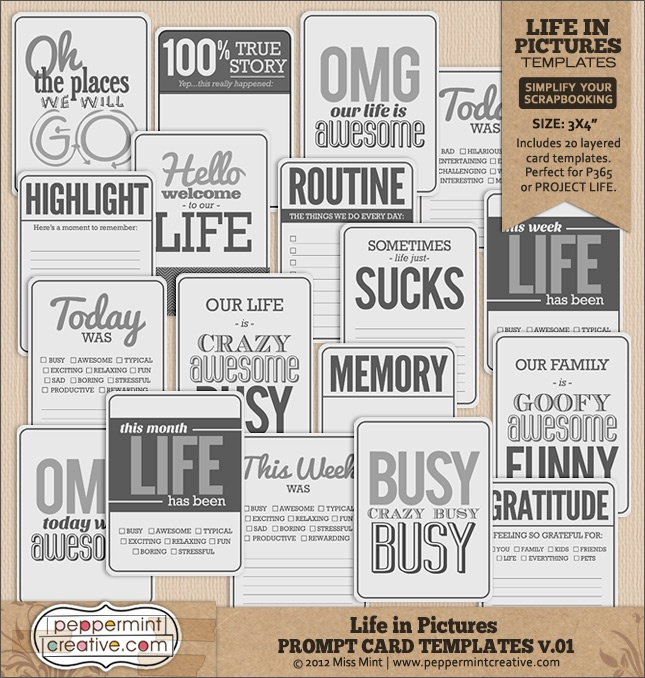 Life in Pictures: Prompt Card Templates v.01 for Project Life or general scrapping | #projectlife #project #365