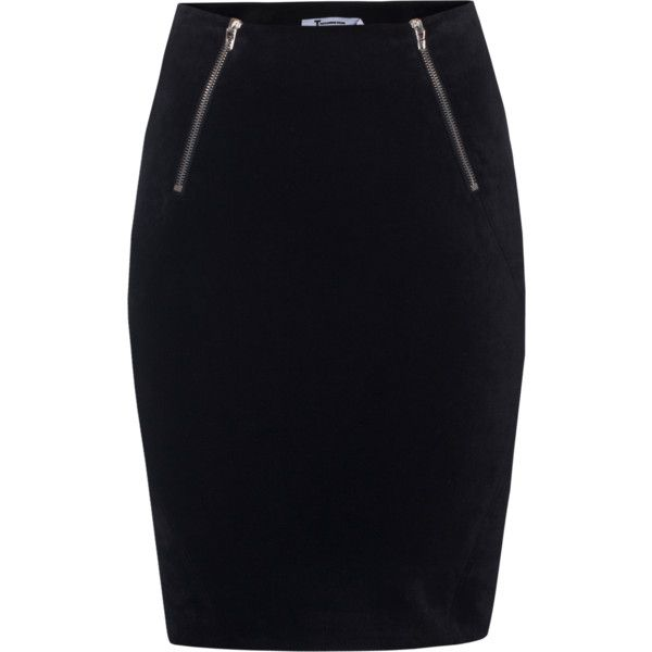 T BY ALEXANDER WANG Zip Straight Black // Pencil skirt with zipper... (8 195 UAH) ❤ liked on Polyvore featuring skirts, bottoms, saias, black straight skirt, straight skirt, black knee length pencil skirt, black skirt and high waisted mini skirt