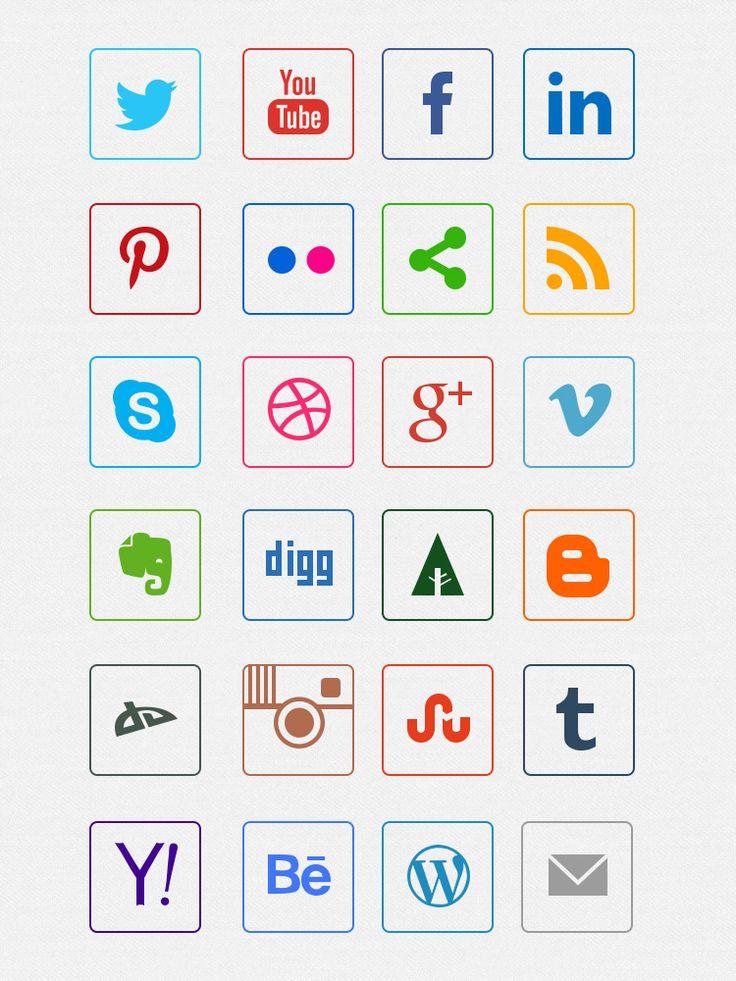 иконки социальных сетей в psd