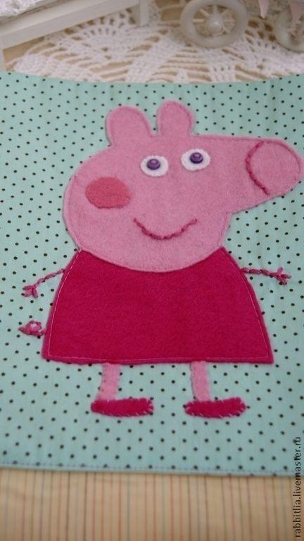 """Купить Кармашки """"Свинка Пеппа"""" в садик - розовый, голубой, горошек, бантик, бант из репсовой ленты"""