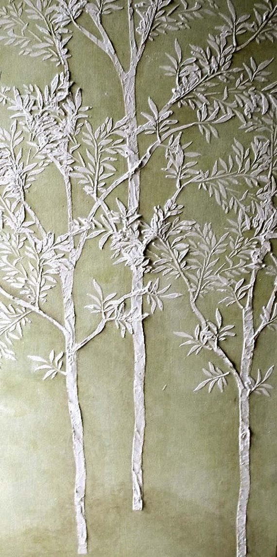 Raised Plaster Life-sized Sapling Tree Stencil door ElegantStencils