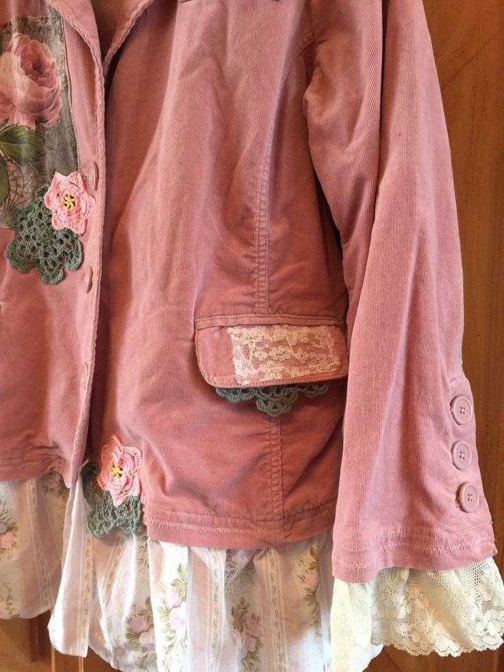 Plus Size Upcycled romantic Shabby Chic Jacket Pink Patchwork Rose and Crochet appliqué Pink Corduroy Jacket Upcycled Gypsy Coat Soft comfortable cotton corduroy.  Size 18-20 Measures laying flat Bust 24armpit to armpit Arms 25 long Waist 24 Hips 25