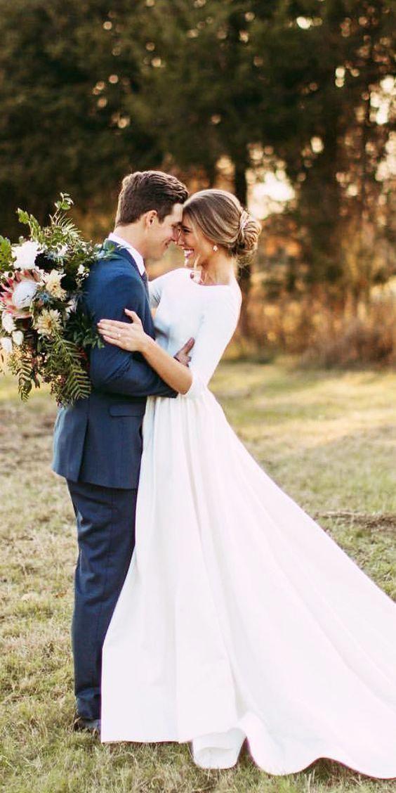 wedding 3/4 Sleeve Modest Wedding Dresses Backless Simple Long Sleeve Wedding Dr…