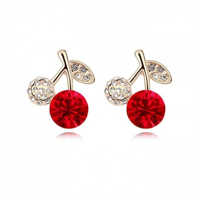 Genuine Austrian Crystal Cherry Stud Earrings TCDE0106 #Jewelry #WomensJewelry