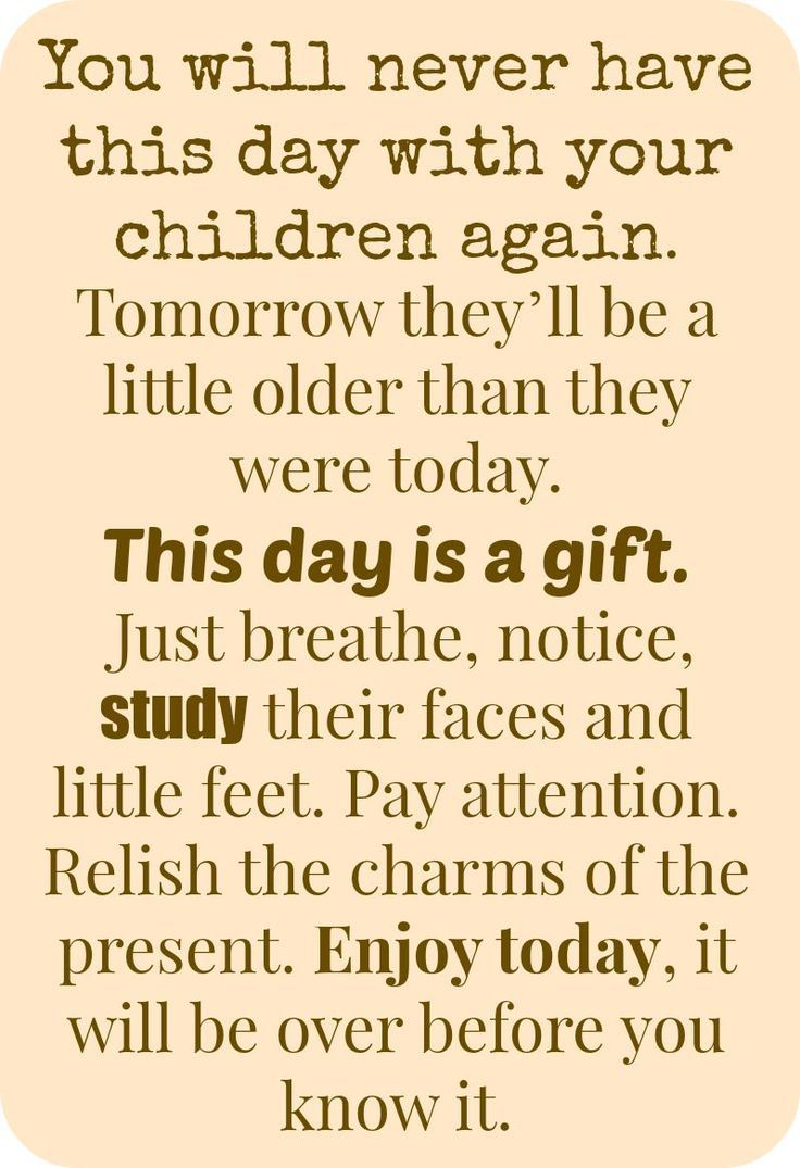 you will never have this day with your children again, parenting quote