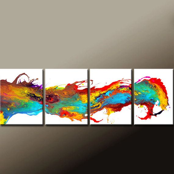 4pc Abstract Canvas Art Painting 64 Original by wostudios on Etsy, $249.00