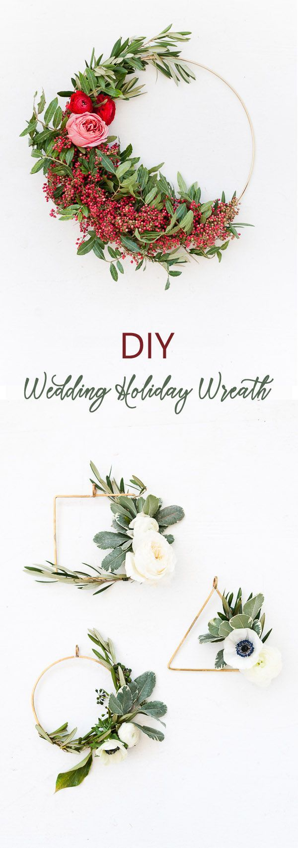 DIY floral and Greenery Holiday and Wedding Wreath Ideas