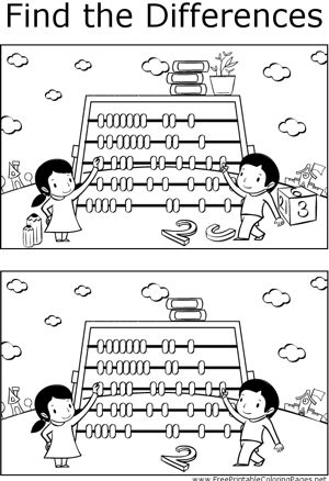 Great for quiet activities and art, this printable coloring page shows several differences between the two pictures of kids doing math with an abacus.
