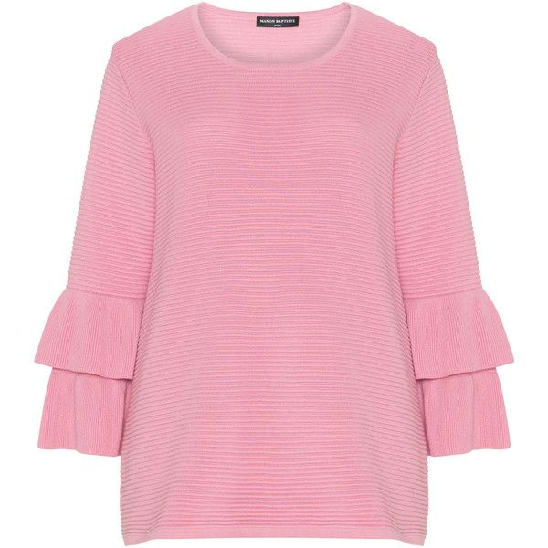 Manon Baptiste Pink Plus Size Ribbed ruffle detail jumper ($97) ❤ liked on Polyvore featuring tops, sweaters, pink, plus size, ruffle sleeve sweater, ruffle sleeve top, ribbed sweater, plus size jumpers and womens plus sweaters