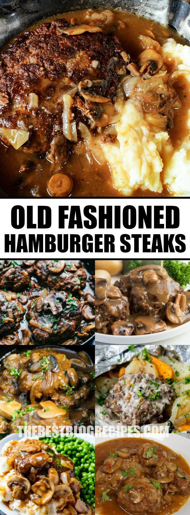 Old Fashioned Hamburger Steaks with Mushroom Onion Gravy have the perfect combination of ingredients and seasonings that turn into one delicious dinner! via @bestblogrecipes