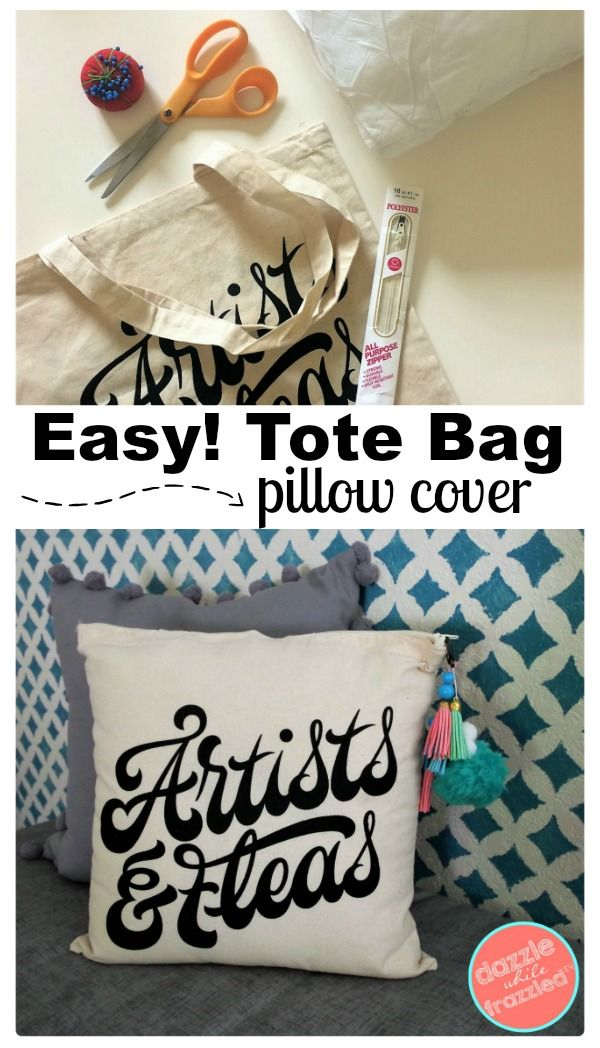 How To Make A Decorative Pillow From A Tote Bag With Images