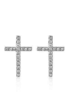 Effy White Gold 0.11 ct. t.w. Diamond Cross Earrings in 14K White Gold