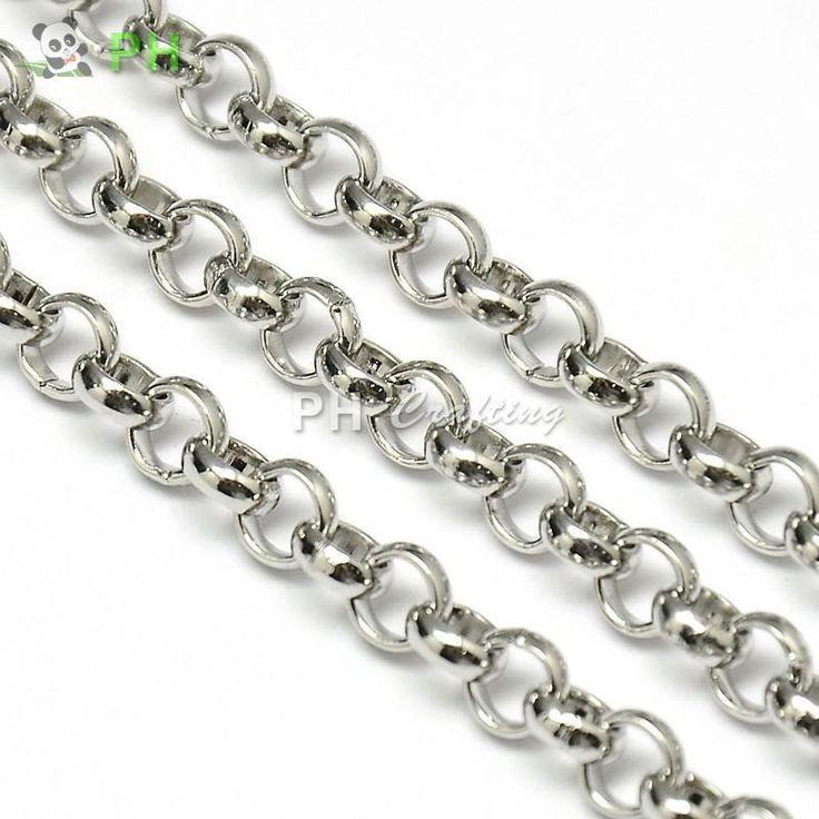 304 крест из нержавеющей стали Rolo цепи, Нержавеющая сталь цвет, 6 x 2 ммкупить в магазине Findings & GemsнаAliExpress