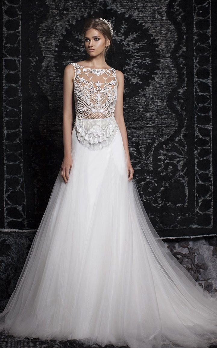 Bohemian Gypsy Wedding Dresses   Bohemian wedding gown, aline wedding gown, deep v neckline wedding gown