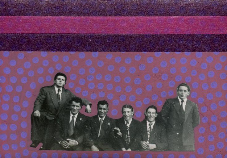 Collage Contemporaneo Su Foto Di Uomini Vintage Decorata Con Materiali Misti.