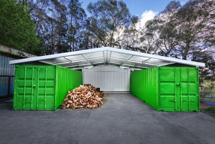 container shed - offset car port, wood shed, tool storage, DIY shed ...