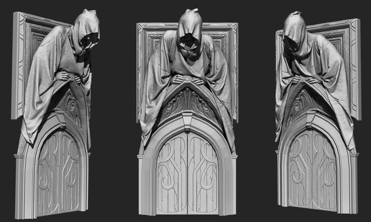 Mansion Door With Figure, Cliff Schonewill on ArtStation at https://www.artstation.com/artwork/VyaQP