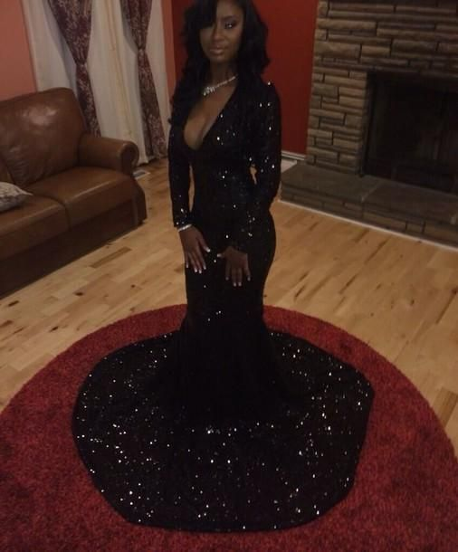 Sexy Black Sequins Mermaid Evening Dresses Trumpet Deep V Neck Long Sleeve Prom Gowns Court Train Formal Party Dress 2015 from Wheretoget,$113.62 | DHgate.com