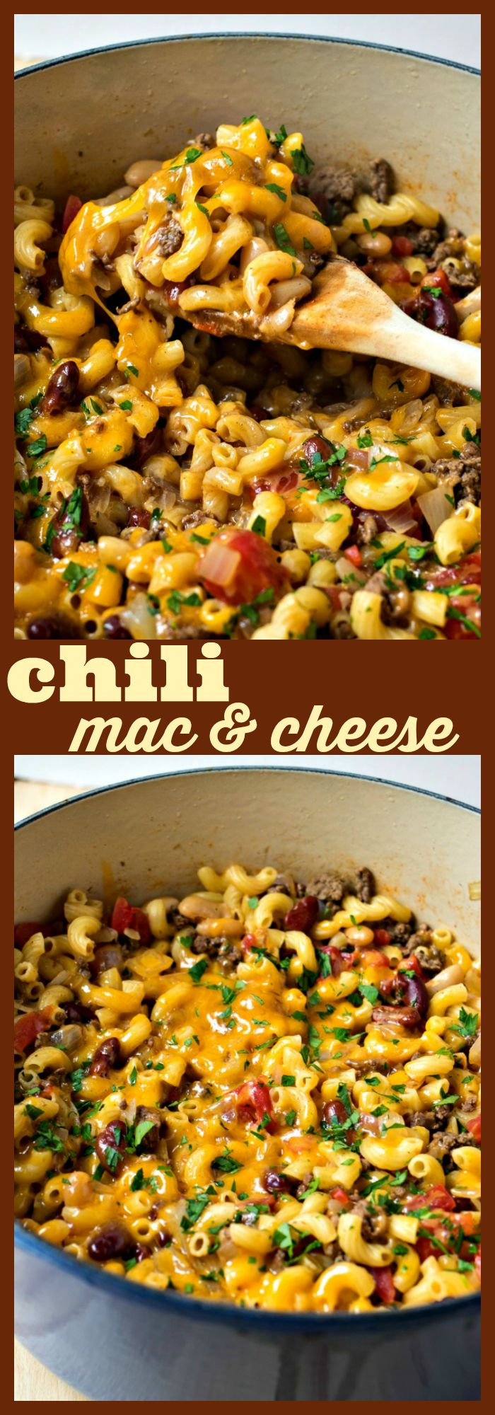 Chili Mac & Cheese – Hearty bean chili is cooked with macaroni and covered with cheese to make for one hearty dish perfect for those cold nights! #soup #chili #macandcheese #cheese #comfortfood