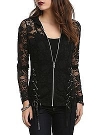 Confession: I still like Hot Topic. Not as much as I used to, but.... Royal Bones Black Lace Girls Hoodie