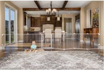 """Do you have a large opening to block off from your baby? The New 192"""" Regalo Easy Open Super Wide Walk Through Gate fits openings up to 16 feet!"""