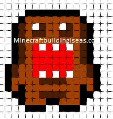 grille pour crocheter un pixel plaid. Adapter les grannys. http://www.minecraftpixelarttemplates.com/2012/08/domo.html