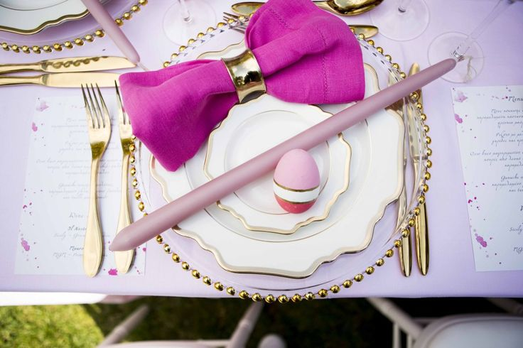 """Easter Table Decoration. morning photoshooting for """"as you plan"""". art de la table, be creative, be unique, easter table ideas, Marseilles Easter Table spring, french style, french style lovers, gold, marseilles, pink"""