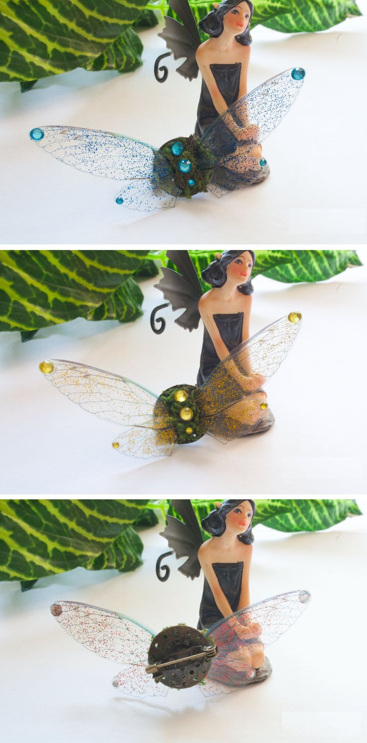 Fairy wings brooch. Forest fairy brooch. Fake moss jewelry. Nature inspired. Available in six colors