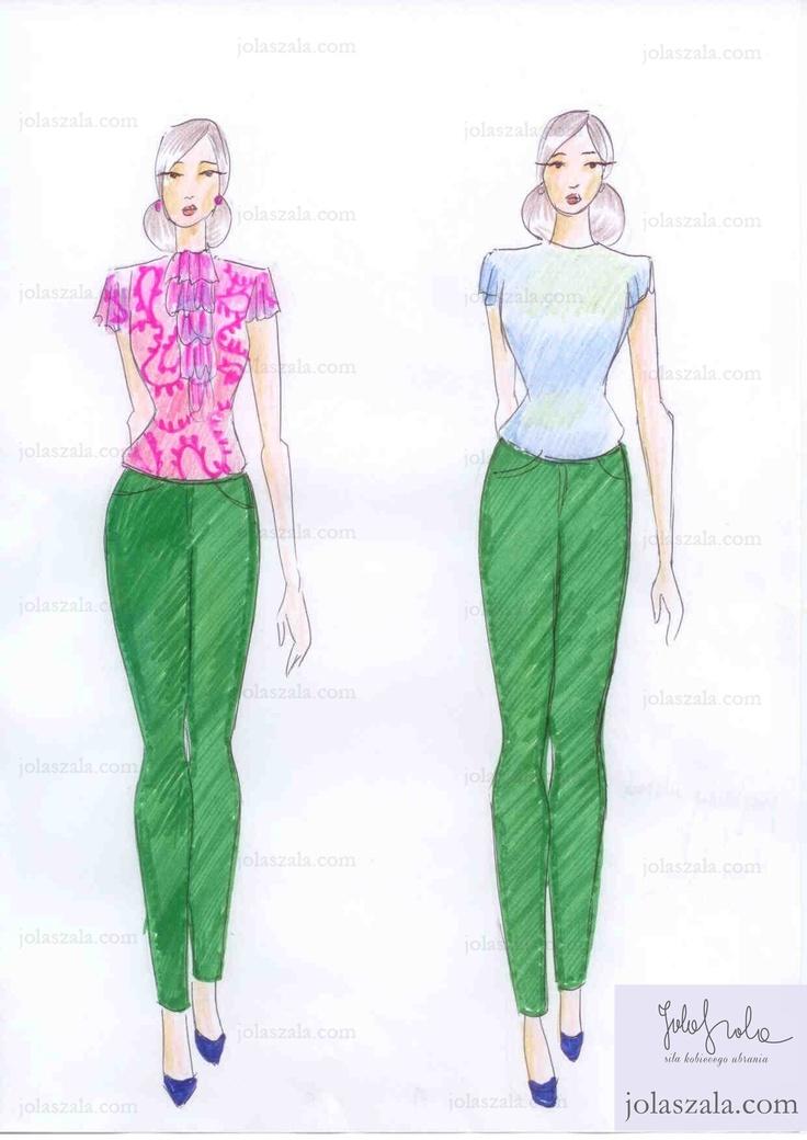 Intensywny kolor a bluzka.     Jeśli są to spodnie w intensywnym kolorze, np. zieleń, fuksja, szafir, wystrzegaj się bluzki w mocnych barwach, o fantazyjnym kroju i z dużą ilością ozdób. Stonowana zawsze będzie wyglądała doskonale. on Jola Szala - Siła kobiecego ubrania  http://jolaszala.com/porady-joli/gdy-zakladasz-spodnie-zwroc-uwage-na/#sg1
