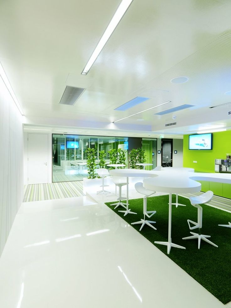 Furniture completed among green rug finished with modern decoration futuristic modern office building with wooden siding wall and floors ceramic floor tile