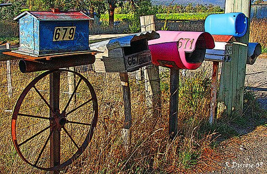 Country roadside mailboxes