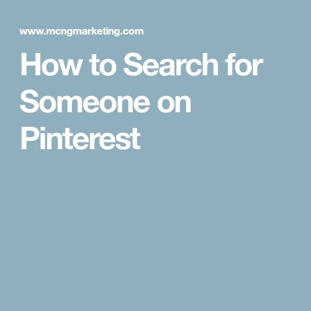 How to Search for Someone on Pinterest
