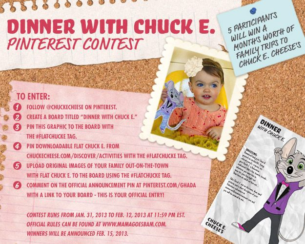 Chuck E. Cheese's Valentine's Pinterest Contest Official Announcement Pin FlatChuckE We love