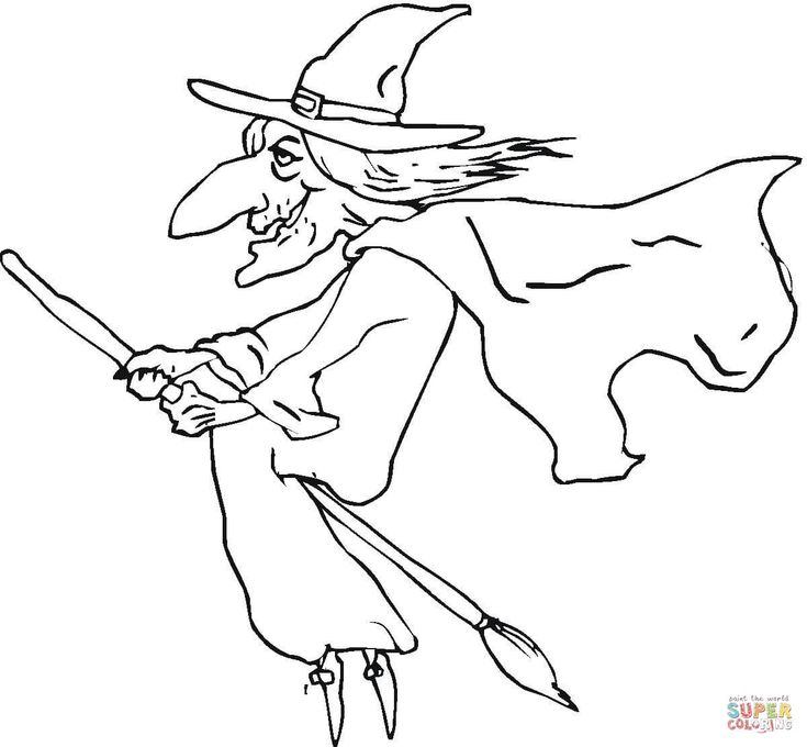 ugly old witch coloring page free printable coloring pages - Witch Coloring Page