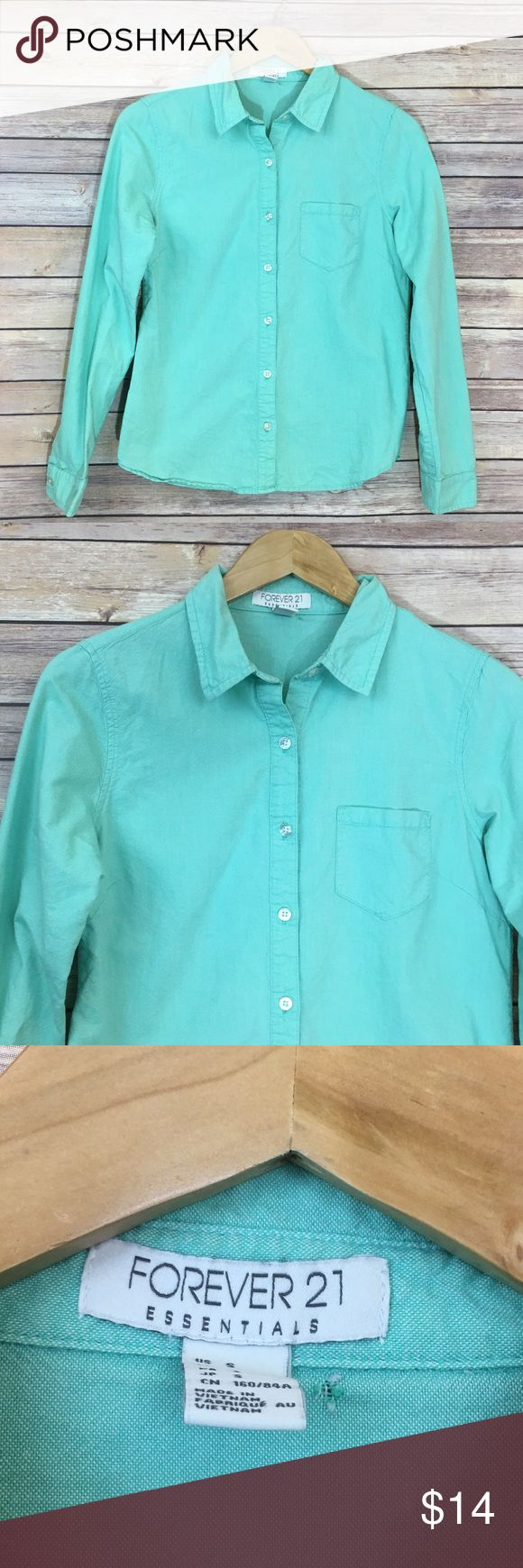 "Forever 21 Mint Shirt Mint Button Down Shirt. Only flaw shown in pic 3. Pit to pit 18""/ length 24"" Forever 21 Tops Button Down Shirts"
