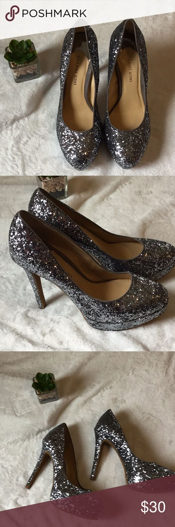 "Gianni Binni Silver Glitter High Heel Shoes 7M Gorgeous High Heel Approx 4"" Glitter Silver Shoes Women Size 7M Barely Worn Great Conditions. Gianni Bini Shoes Heels"