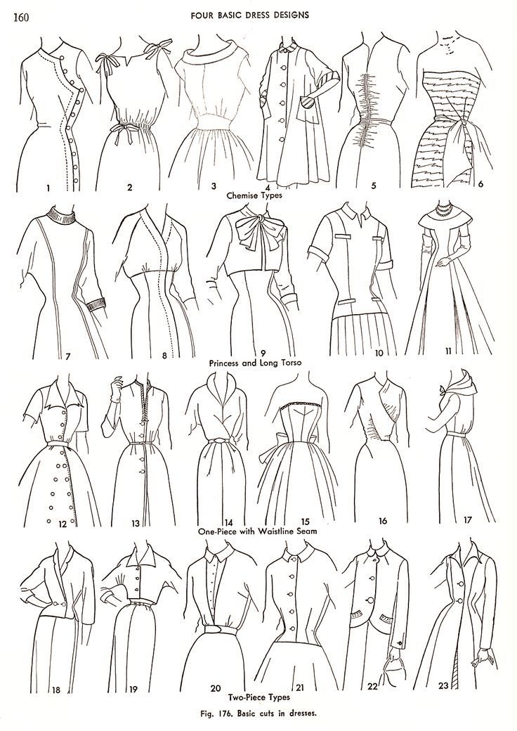 Basic dress designs. Via Practical Dress Design Mabel Erwin