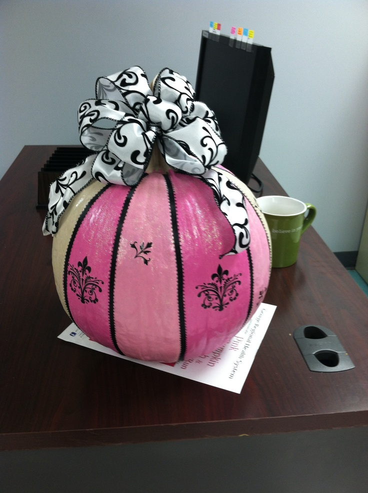 Pink pumpkin with ribbon etc.