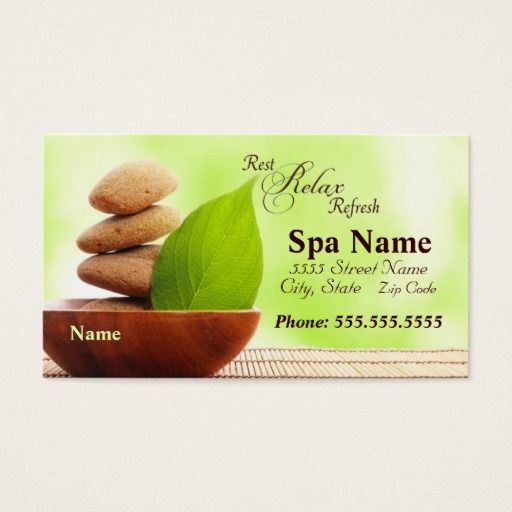 291 best spa business cards images on pinterest spa for Spa business card