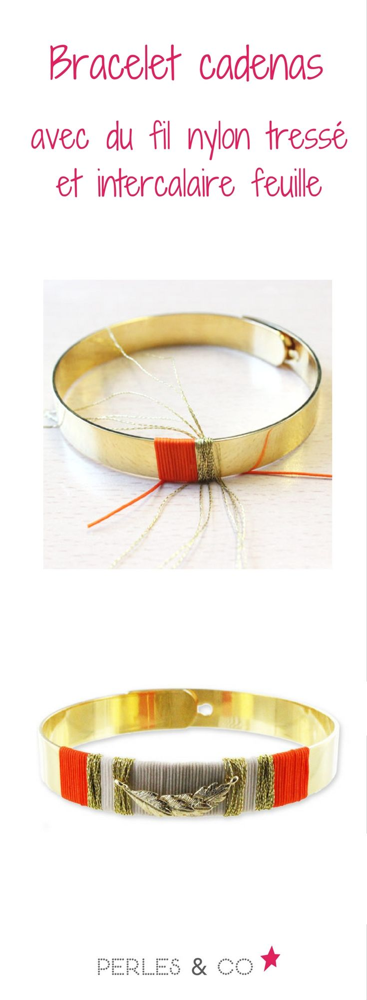 Retrouvez le tutoriel de ce bracelet cadenas ornementé de fil de nylon tressé et d'une intercalaire en forme de feuille >> https://www.perlesandco.com/Bracelet_cadenas_plumes_feuilles_fil_nylon_tresse-s-2303-4.html
