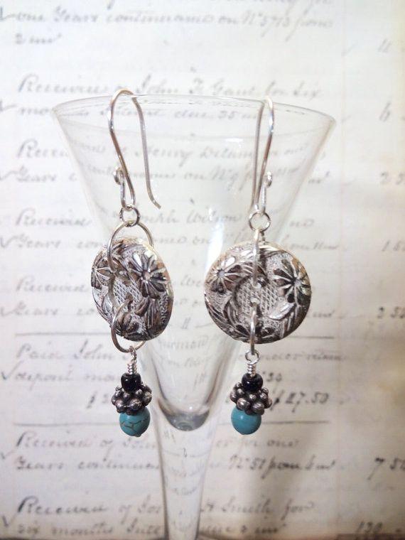 Vintage Silver Metal Button Earrings, Flower, Turquoise Bead, Silver Ear Wires, Art Deco Earrings