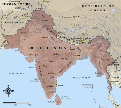 Map of British India in 1914