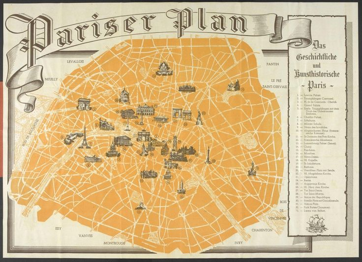 tourist map of paris given to german troops during ww2 occupation 1940