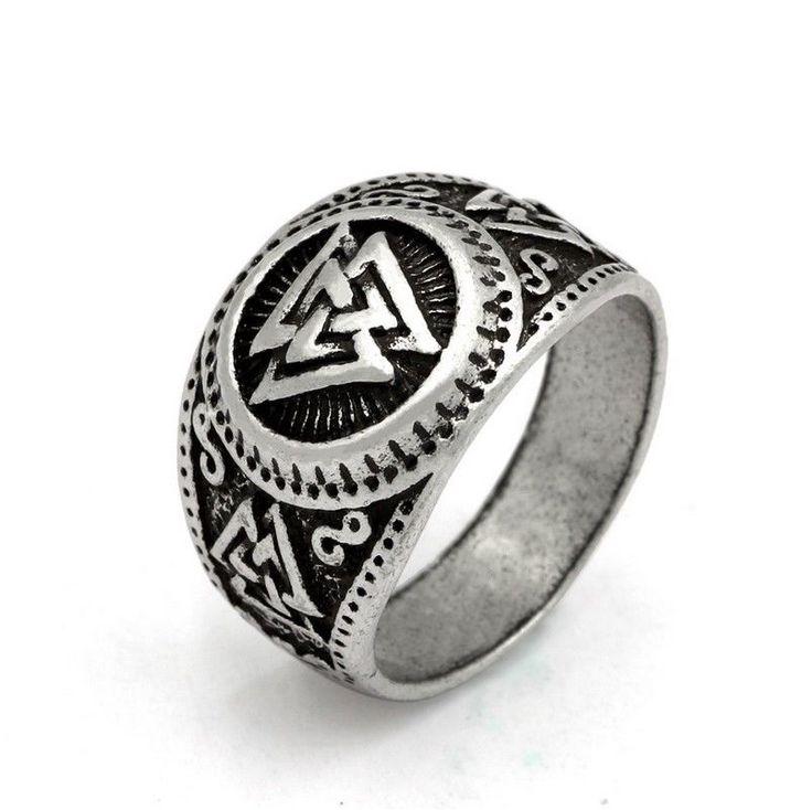 Men Valknut Norse Viking Odin Symbol Scandinavian Vikings Valknut Warrior's Ring