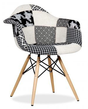 Classy Wooden Arm Chair Using Black And White Fabric Patchwork Also Light Brown Wooden And Black Metal Frame Legs