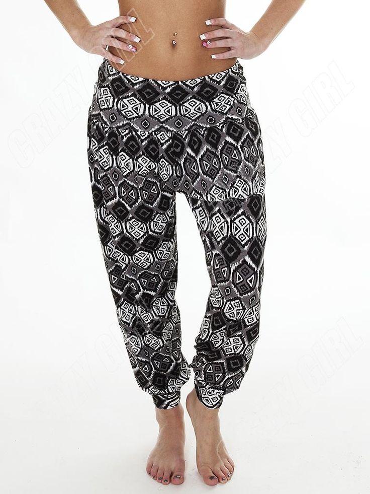 New Womens Ladies Ali Baba Aztec Print Harem Hareem Trousers Pants Size 8 14 S M